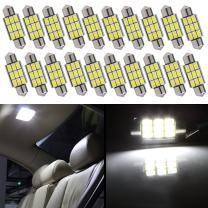 "cciyu 20 Pack White Error Free CANbus 36mm 1.50"" 9-5730-SMD 6418 C5W COB LED Bulbs DE3423 DE3425 C5W 3423 Interior Light Lamp"