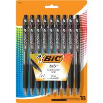 BIC BU3 Grip Retractable Ballpoint Pen, Medium Point (1.0mm), Black, 18-Count