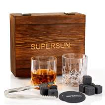 SUPERSUN Whiskey Stones and Glass Gift Set for Men - 8 Whiskey Chilling Rocks and 2 Scotch Bourbon Glasses - Reusable Ice Cubes Whiskey Glasses Set Bar Tools for Father's Day, Dad's Birthday