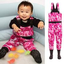 NEYGU Children's 5MM Neoprene Thermal and Waterproof Chest Wader with Rubber Boots,Keep Child Warm Under -31 ℉,Pink Camo Style