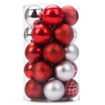 iPEGTOP Christmas Balls Ornaments - 25ct Shatterproof Classic Red Silver Shiny Glitter Matte Baubles Holiday Wedding Party Christmas Tree Decorations, 60mm/2.4inch
