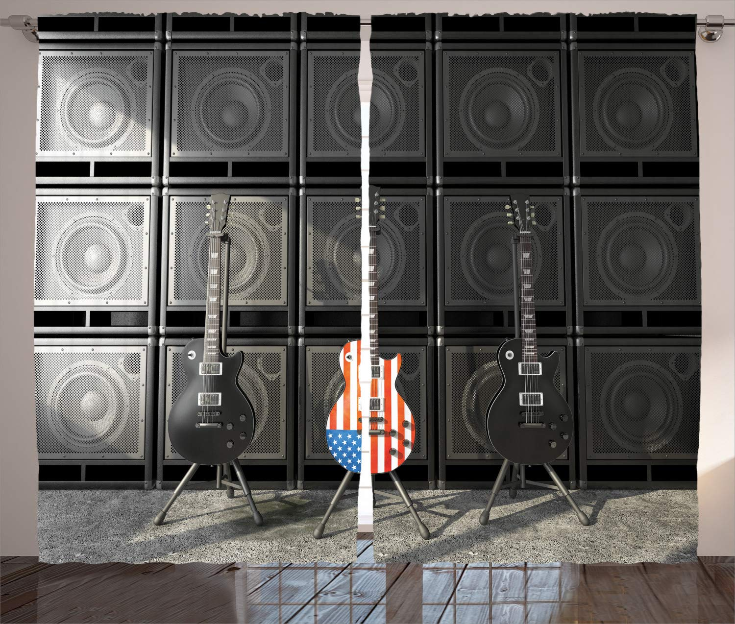 """Ambesonne American Flag Curtains, Black and Us Bass Guitar Electronic Rock Music Theme Digital Graphic Work, Living Room Bedroom Window Drapes 2 Panel Set, 108"""" X 108"""", Charcoal"""