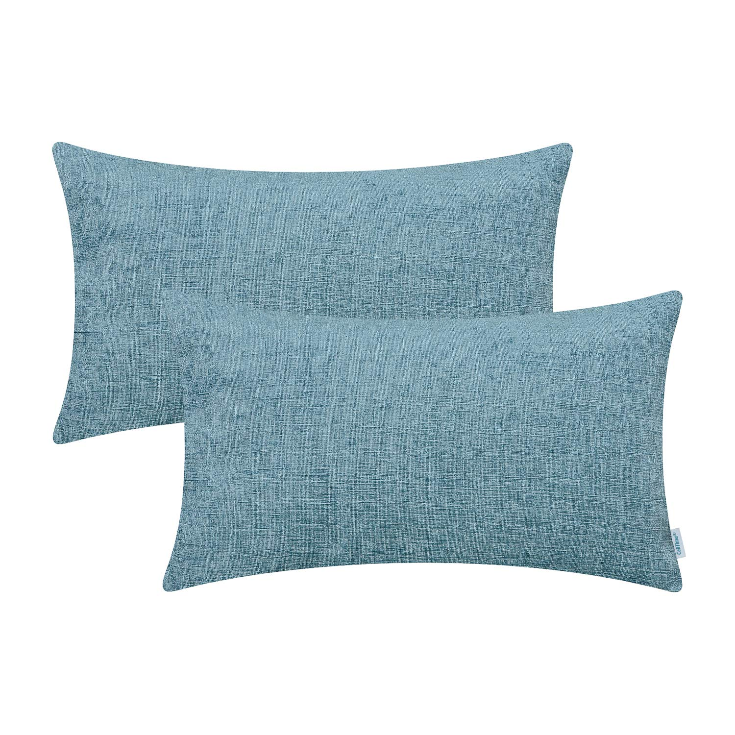 CaliTime Pack of 2 Cozy Bolster Pillow Covers Cases for Couch Sofa Home Decoration Solid Dyed Soft Chenille 12 X 20 Inches Smoke Blue