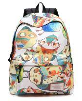 Leaper Cute Owl Laptop Backpack Women Daypack Travel Bag Satchel Handbag (Beige-owl, M)