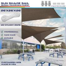 Windscreen4less 26' x 26' x 26' Sun Shade Sail Canopy in Brown with Commercial Grade (3 Year Warranty) Customized Sizes Included Free Pad Eyes