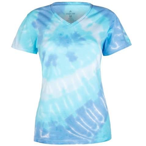 Magic River Ladies V Neck Tie Dye T Shirts for Women - Wildflower Spiral - Women's XXL