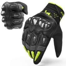 INBIKE Motorcycle Gloves Hard Knuckle Gloves Motorbike Gloves Men Breathbale Carbon Fiber Green XX-Large IM803