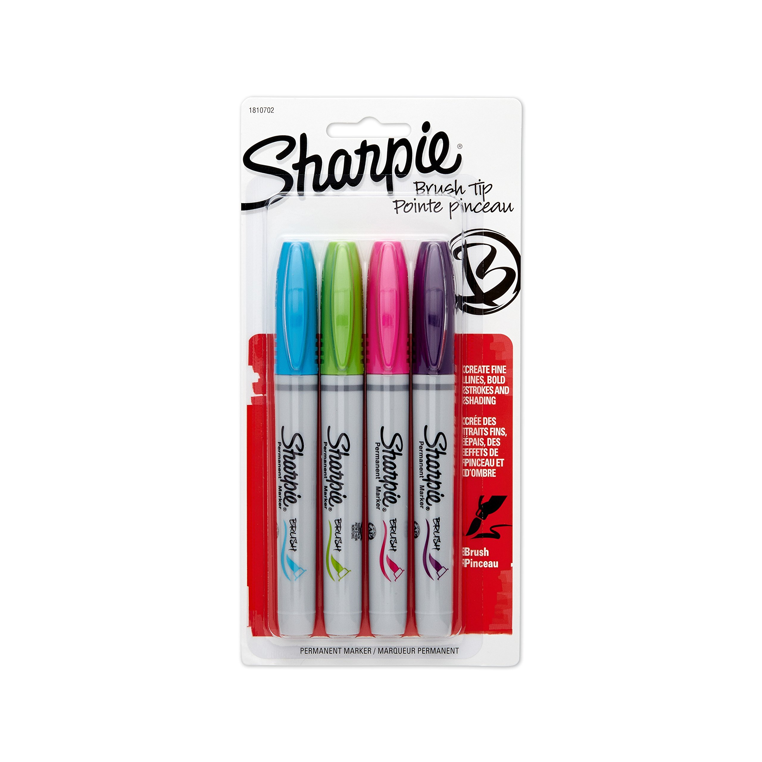 Sharpie 1810702 Brush Tip Permanent Marker, Assorted Colors, 4-Pack