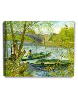 DECORARTS - Fishermen and Boats from The Pont De Clichy, Vincent Van Gogh Art Reproduction. Giclee Canvas Prints Wall Art for Home Decor 20x16