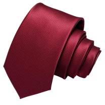 Barry.Wang Plain Men Ties for Wedding Business Handkerchief Cufflinks Necktie Set Solid Colors