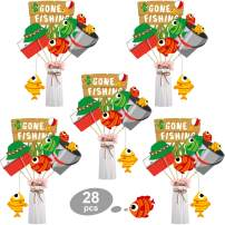 Blulu 28 Pieces Gone Fishing Theme Little Fisherman Party Decoration Fish Centerpiece Sticks Fishing Theme Table Toppers for Theme Party Birthday Party Baby Shower Supplies (Gone Fishing)