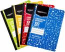 AmazonBasics College Ruled Composition Notebook, 100 Sheet, Assorted Marble Colors, 36-Pack