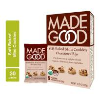 MadeGood Soft Baked Chocolate Chip Mini Cookies, 6 boxes (30 ct); Nut-Free, Gluten Free, Allergy Friendly, USDA Certified Organic, Vegan, Non-GMO Ingredients; Nutrients of a Full Serving of Vegetables