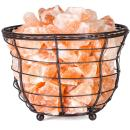 "HemingWeigh Himalayan Salt Chip Lamp in Metal Basket Bowl 8x7.15"" Electric Wire and Bulb Included"
