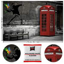 GREAT ART Photo Wallpaper Banksy Flower Thrower Decoration 210x140 cm / 82.7x55in – Red Telephone Booth London Graffiti Urban Artwork Stencil Paint Mural – 5 Pieces Includes Paste