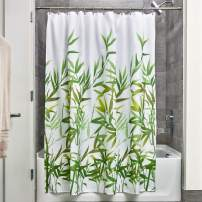 """iDesign Anzu Fabric Shower Curtain, Water-Repellent Bath Liner for Kids', Guest, College Dorm, Master Bathroom, 72"""" x 72"""", Green"""