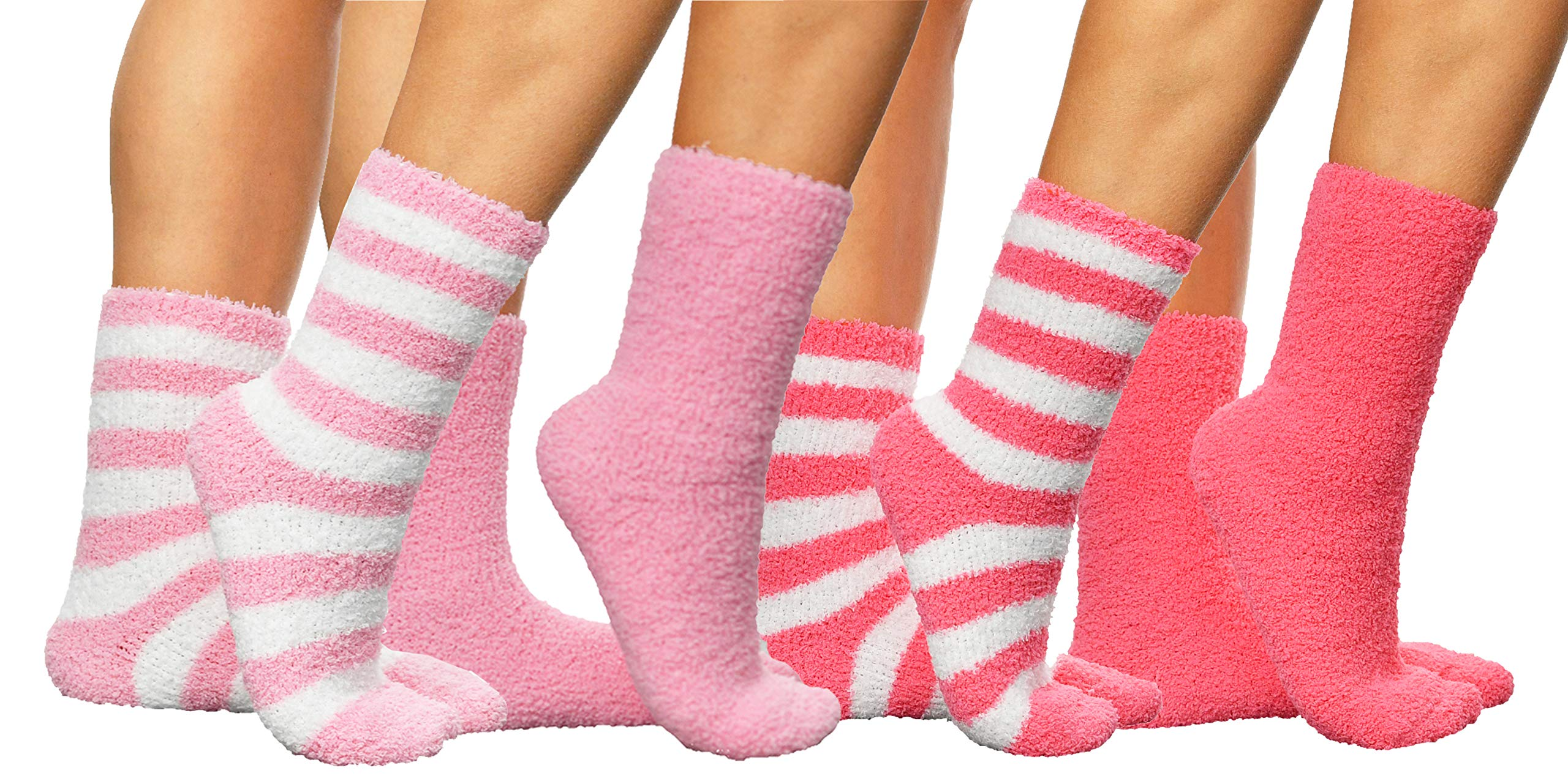 ARAD Premium Soft Warm Microfiber Fuzzy Socks-Multi Color- 4 Pairs- Striped Baby Pink, Solid Baby Pink, Striped Pink and Solid Pink