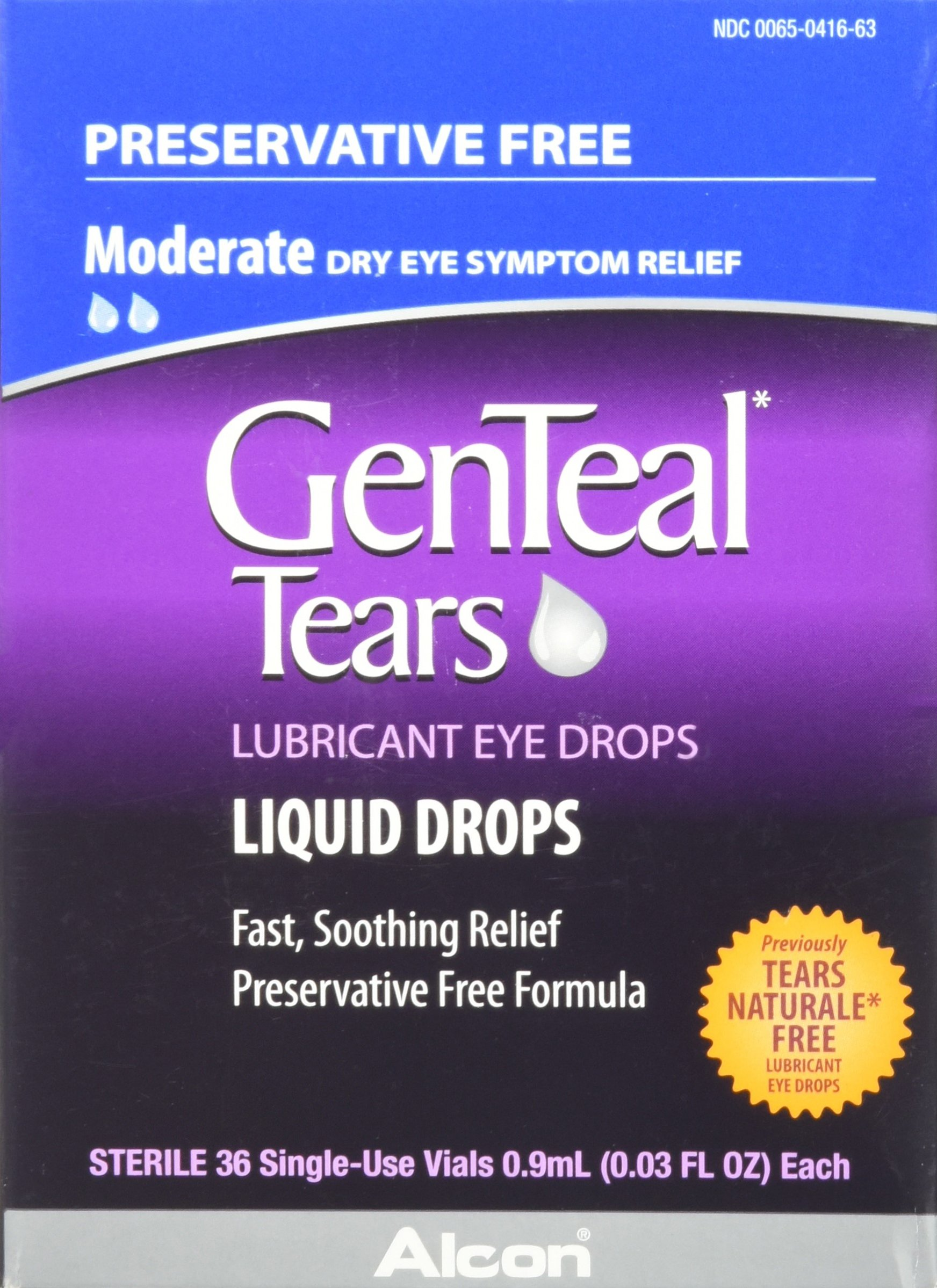 Genteal Tears Lubricant Eye Drops Moderate Liquid Drops 36 Sterile Single Use Vials 0 9 Ml Each