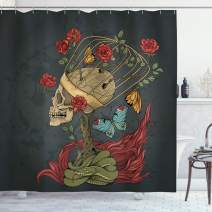 """Ambesonne Skull Shower Curtain, Evil Mexican Sugar Skeleton with Bush of Roses Snake and Butterfly Artwork, Cloth Fabric Bathroom Decor Set with Hooks, 84"""" Long Extra, Ruby Grey"""