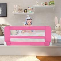 "Sotech Bed Rails for Toddlers, Swing Down Safety Bed Guard for Convertible Crib, 40"" Folding Baby Bed Rail for Kids, Twins, Full Size Queen & King Mattress (Pink)"