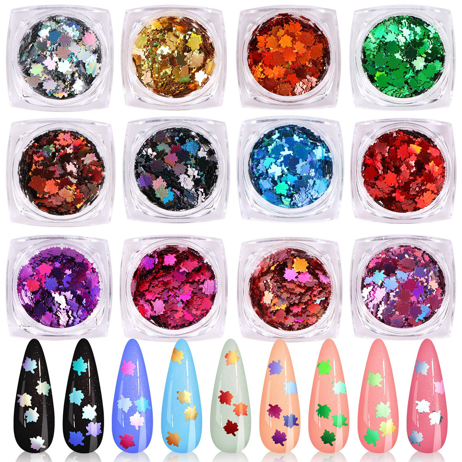 KISSBUTY 12 Boxes Colored Maple Leaf Sequins Holographic Nails Art Glitters Thin Paillette Flakes Nail Stickers Colorful Confetti Sticker Fall Autumn Nail Art Supplies Christmas Nail Decals Manicure