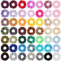 SUBANG 50 Pack Velvet Scrunchies Hair Elastics Scrunchies Hair Bands Ties, 50 Colors