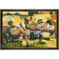 """La Pastiche Thatched Houses Against a Hill Framed Oil Painting, 39.5"""" x 27.5"""", Multi"""