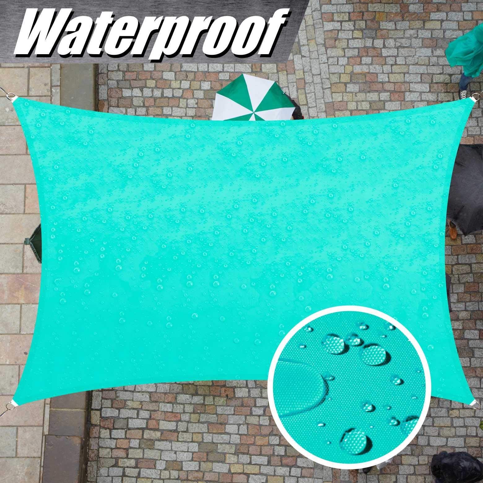 ColourTree Custom Size 4' x 7' Turquoise TADR0712 Rectangle Waterproof Sun Shade Sail Canopy Awning Shelter, 95% UV Block Water Resistant, Garden Carport Outdoor Patio (We Customize)