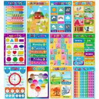 Educational Posters for Preschoolers Toddlers Kids Kindergarten Classrooms Alphabet Letters, Numbers, Shapes, Colors, Seasons, Week, Months, More,11 x 16 Inch,12PCS