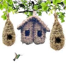Hummingbird Hand Woven House Hanging Bird Natural Fiber Nest Hideaway Nest Roosting Pocket Bird Hut Ideal for Small Birds Canaries Chickadee Wren Sparrow Finch 3 PCS