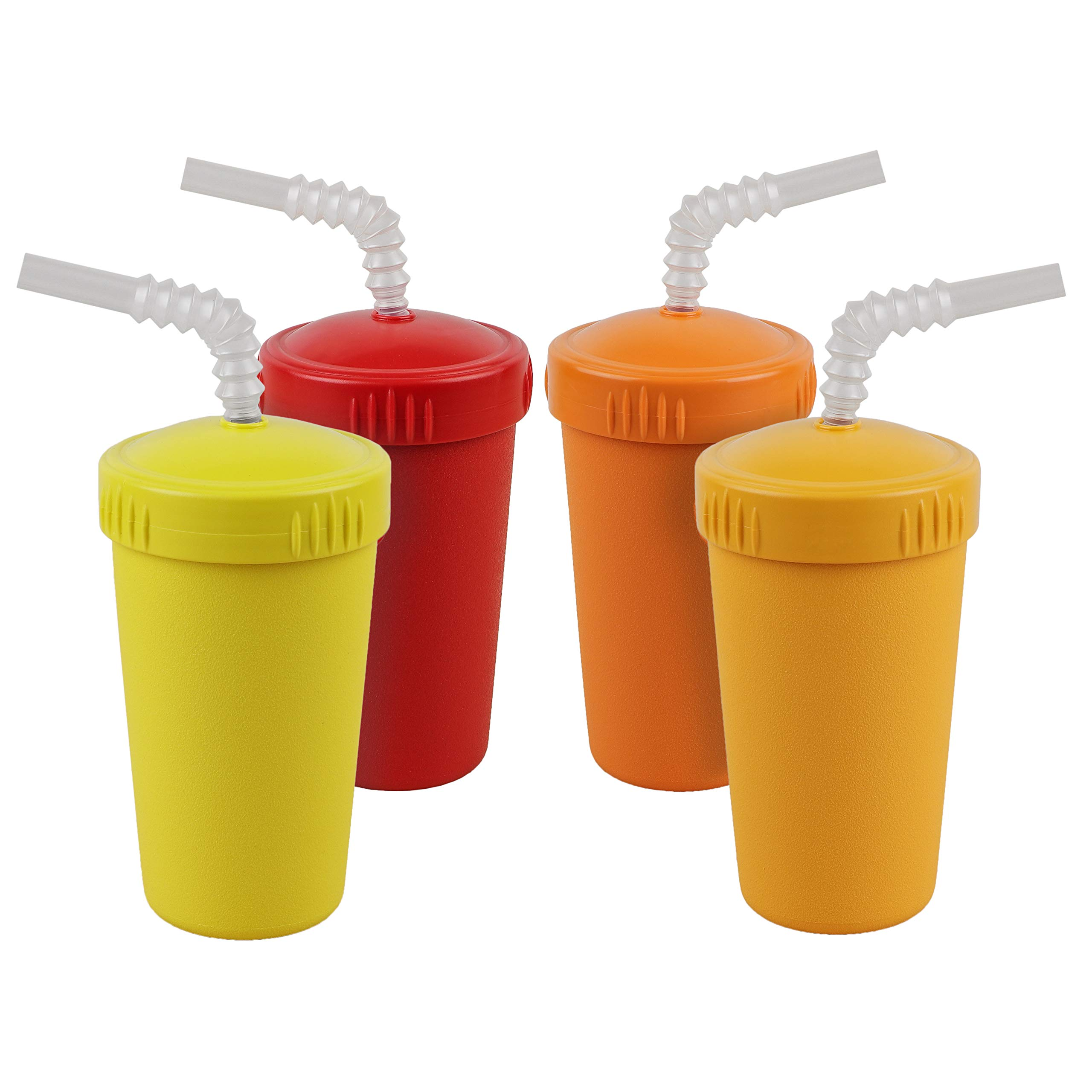 Re-Play Made in USA 4pk Straw Cups with Bendable Straw in Orange, Sunny Yellow, Red and Yellow | Made from Eco Friendly Heavyweight Recycled Milk Jugs - Virtually Indestructible (Fall+)