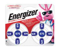 Energizer Hearing Aid Batteries Size 675, EZ Turn & Lock (8 Battery Count)