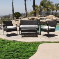 BELLEZE 4pcs Cushioned Coffee Table Outdoor/Indoor Patio Garden Lawn Furniture PE Rattan Wicker Sofa Set, Black