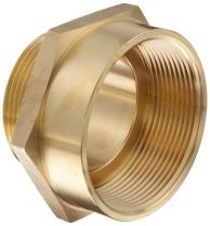 "Moon 357-3062521 Brass Fire Hose Adapter, Nipple, 3"" NPT Female x 2-1/2"" NH Male"