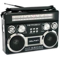Dolphin RETROBOX Portable Bluetooth AM/FM Radio, Black