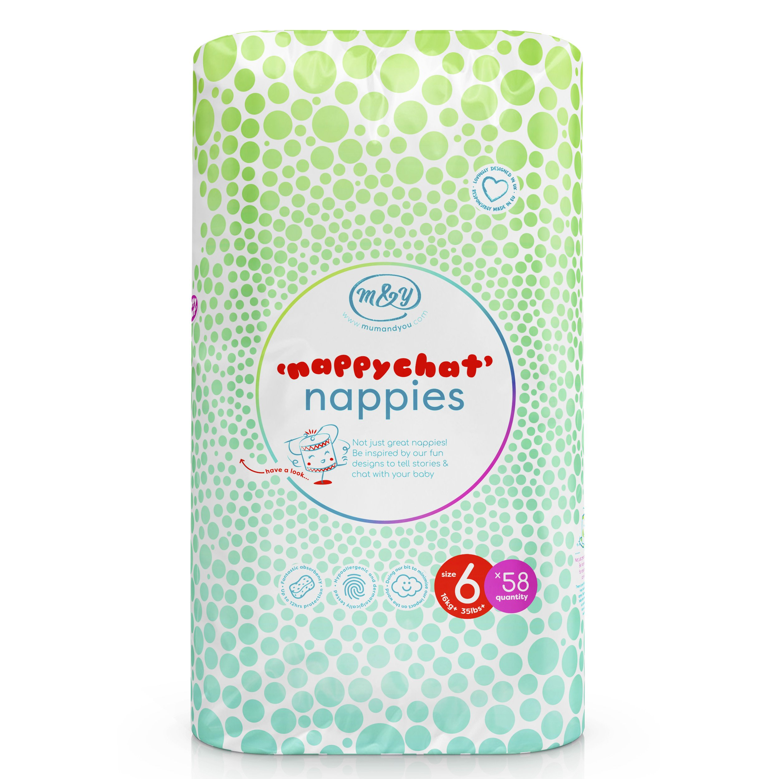 Mum & You Nappychat Eco-Diapers - Hypoallergenic, Dermatologically Tested. Free from Lotion and Perfumes (Size 6)