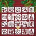 Christmas Stencils, 20 Pcs Merry Christmas Stencil Plastic Stencils Template Reusable Glass Fabrics Wood Cards Posters DIY Drawing Painting Craft for Xmas Holiday Decor