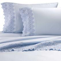 "RENAURAA 600 Thread Count Cotton Rich, 4 Piece Sheet Set, 16"" Deep Pocket, Lace Hem, Soft & Smooth Sateen Weave, Hotel Quality (Blue, California King)"