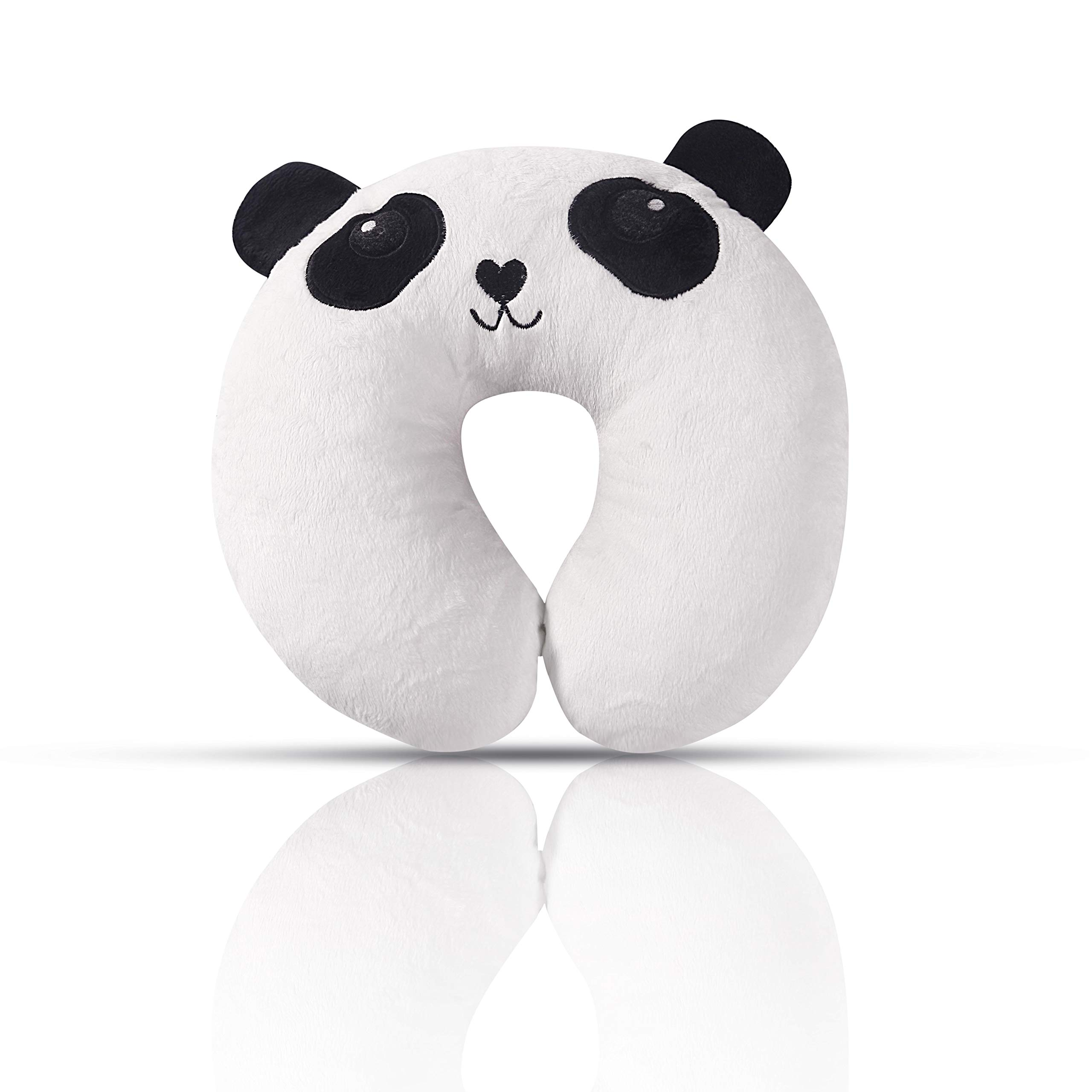U-Shape Soft Kids Panda Travel Neck Pillow | Toddler Car Seat Neck Support Pillow | Cute 3D Panda Embroidery | Comfortable in Any Sitting Position for Airplane, Car, Train,Bus | Perfect Infants Gifts
