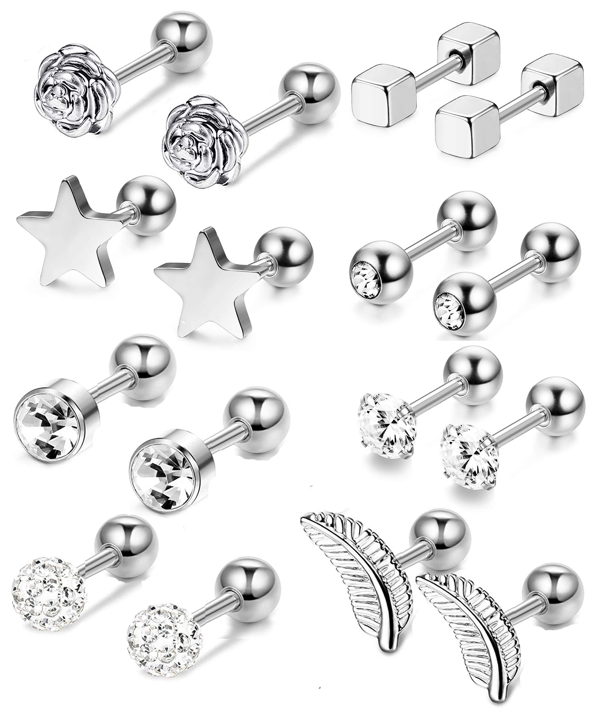 Thunaraz 8Pairs 16G Helix Cartilage Trague Earrings for Women Men Heart Rose Flower Star Earrings Cubic Zirconia Inlaid Cartilage Stud Barbell Ear Piercings Jewelry