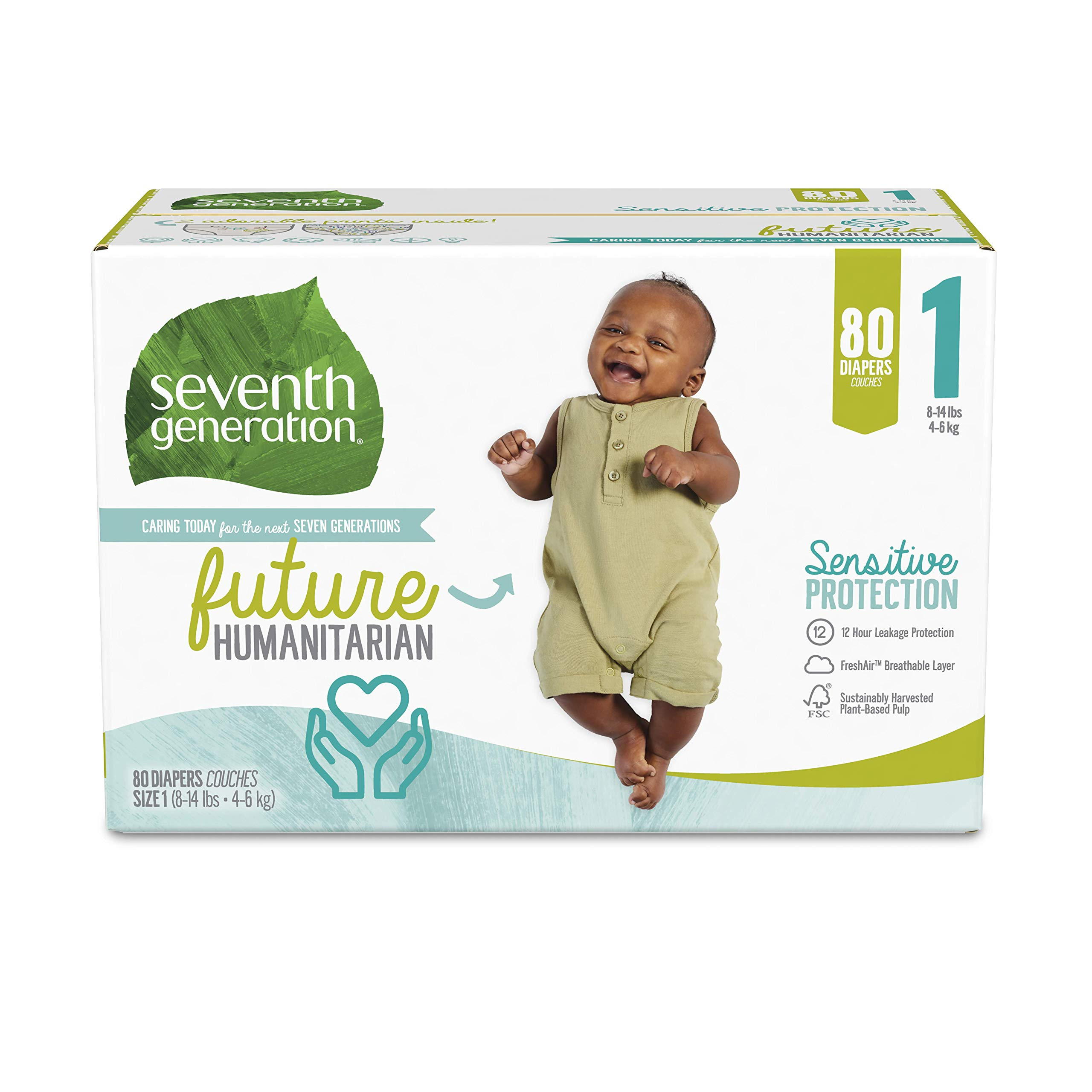 Seventh Generation Baby Diapers, Sensitive Protection, Size 1, 80 Count