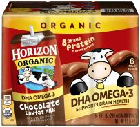 Horizon Organic, Lowfat Organic Milk Box with DHA Omega-3, Chocolate, 6 Count (Pack of 3), Single Serve, Shelf Stable Organic Chocolate Flavored Lowfat Milk, Great for School Lunch Boxes or Snacks