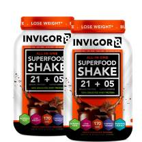 INVIGOR8 Superfood Shake Gluten-Free and Non GMO Meal Replacement Grass-Fed Whey Protein Shake with Probiotics and Omega 3 (645g) … (2-Pck Chocolate (Save 15))