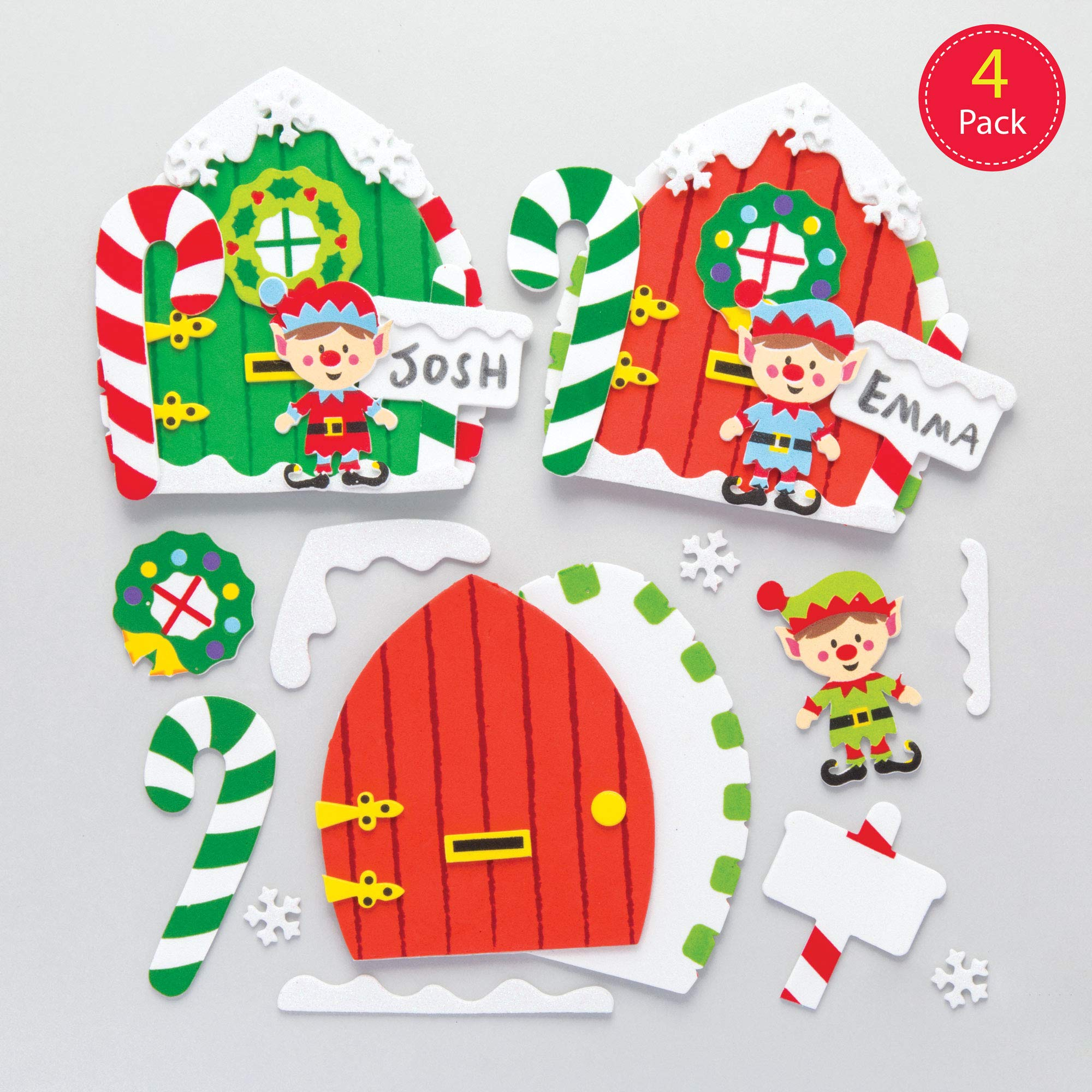 Baker Ross Foam Christmas Elf Door Kits — Creative Christmas Art and Craft Supplies for Kids to Make and Decorate (Pack of 4)