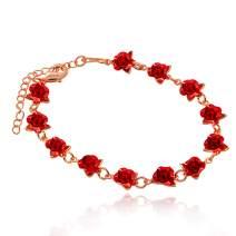 Uloveido Cute Red Rose Flower Charm Bracelet for Women Girls 18K Gold Plated Nature Jewelry, Dozen Roses Bracelets Y452