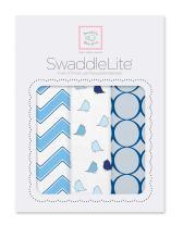 SwaddleDesigns SwaddleLite, Set of 3 Cotton Marquisette Swaddle Blankets, Premium Cotton Muslin, Chic Chervon Lite, Blue