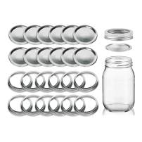 Seacoast Canning Lids Regular Mouth, Canning Mason Jar Lids, Rings and Bands, Leak Proof Flats and Seals in Bulk, Twist-Top Easy Covers, Silver, 16oz, (12 Pack)