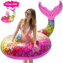 GABOSS Pool Floats Giant Inflatable Mermaid Tail Pool Float - with Rapid Valves Swimming Ring Beach Swimming Pool Party Lounge Raft