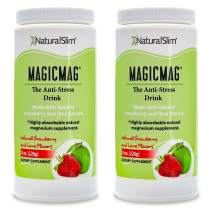 NaturalSlim Anti Stress Drink - Pure Magnesium Citrate Powder with Organic Strawberry and Lime Flavor - Natural Aid to a Slow Metabolism, Constipation & Sleeping Difficulties - 8 oz (2 Pack)