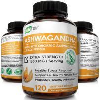 NutriFlair Organic Ashwagandha Capsules 1300mg with Black Pepper (120 Capsules)